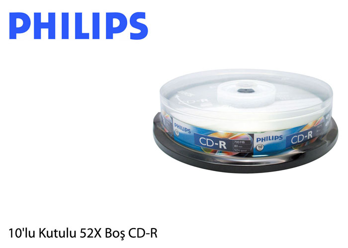 Philips CR7D5SB10-97 700MB 10Lu Cake Box 52X Boş CD-R