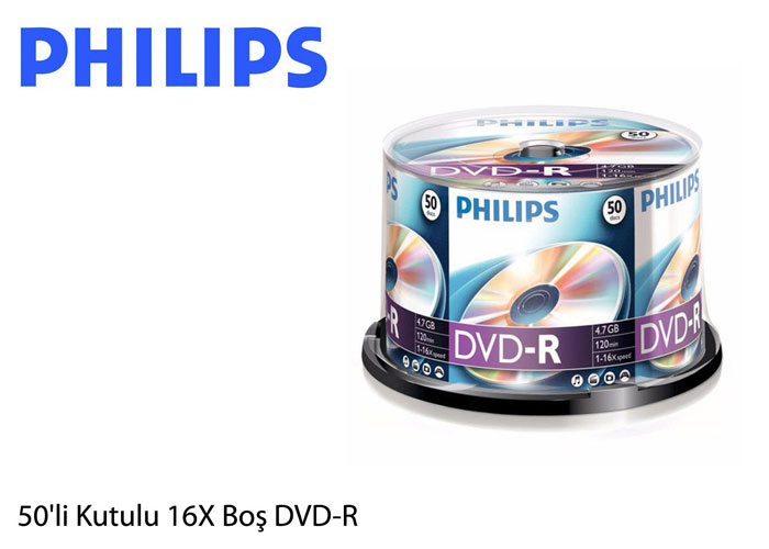 Philips DR4S6B50F-00 4.7GB 50li Cake Box 16X DVD+R