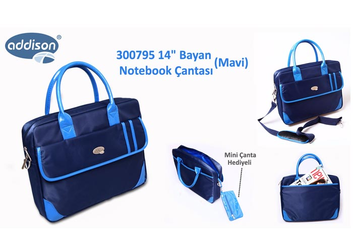 Addison 300795 14 Mavi Bayan Bilgisayar Notebook Çantası