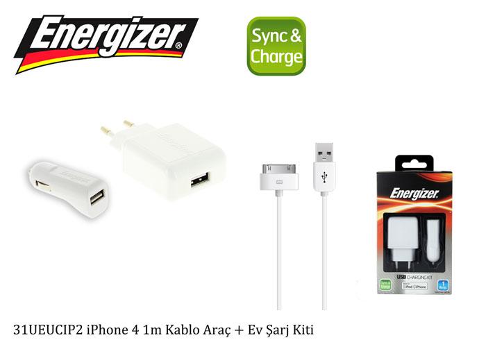Energizer 31UEUCIPS2 iPhone 4 1m Kablo Araç + Ev Şarj Kiti