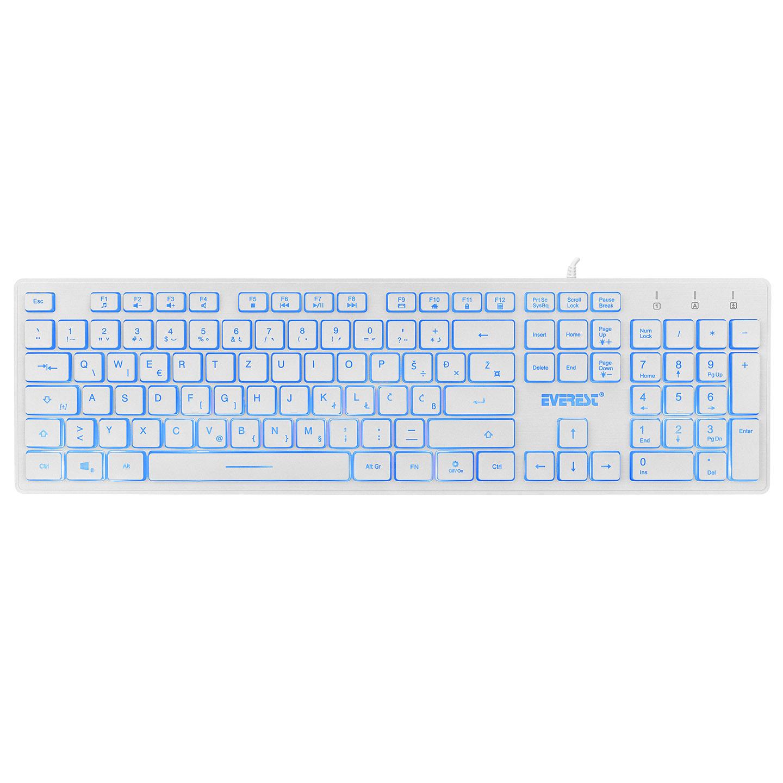 Everest KB-840 Beyaz Renk Aydınlatmalı USB LC Layout Slim Klavye