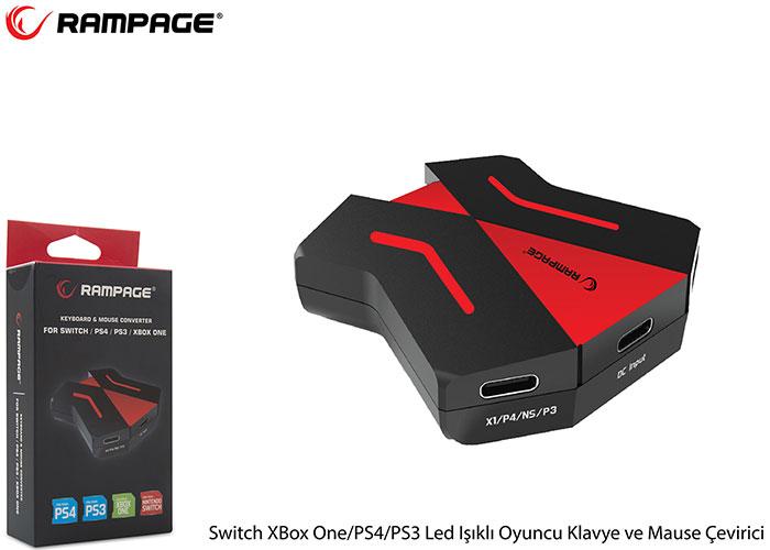 Rampage Switch XBox One/PS4/PS3 Led Işıklı Oyuncu Klavye ve Mause Çevirici