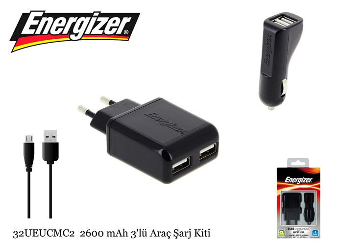 Energizer 32UEUCMC2 Micro Usb 1000MA 3 in 1 Ev+Araç Şarj seti