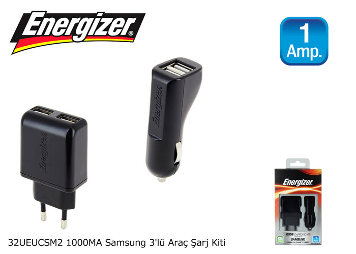 Energizer 32UEUCSM2 1000MA Samsung 3lü Araç Şarj Kiti