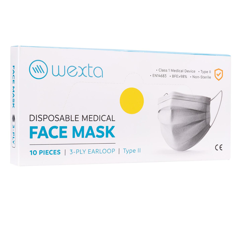Wexta STL3PLY Sarı Melt Blown Yetişkin Koruyucu Yüz Maskesi 10'lu