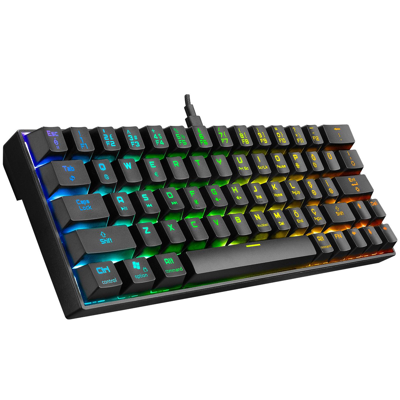 Rampage KB-RX63 ATOM Siyah Type-C RGB Backlight Brown Switch Mekanik Q 63 Tuşlu Mini Gaming Oyuncu Klavyesi