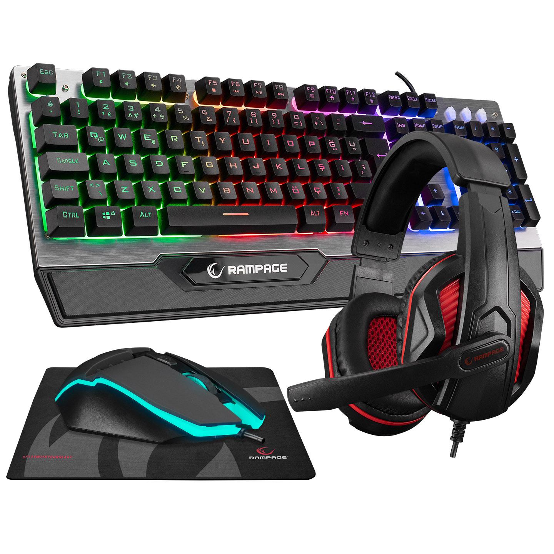 Rampage KM-26 STEELY Gri Usb Gaming Ledli Klavye Q Multimedia +Kulaklık+Mouse+Mousepad