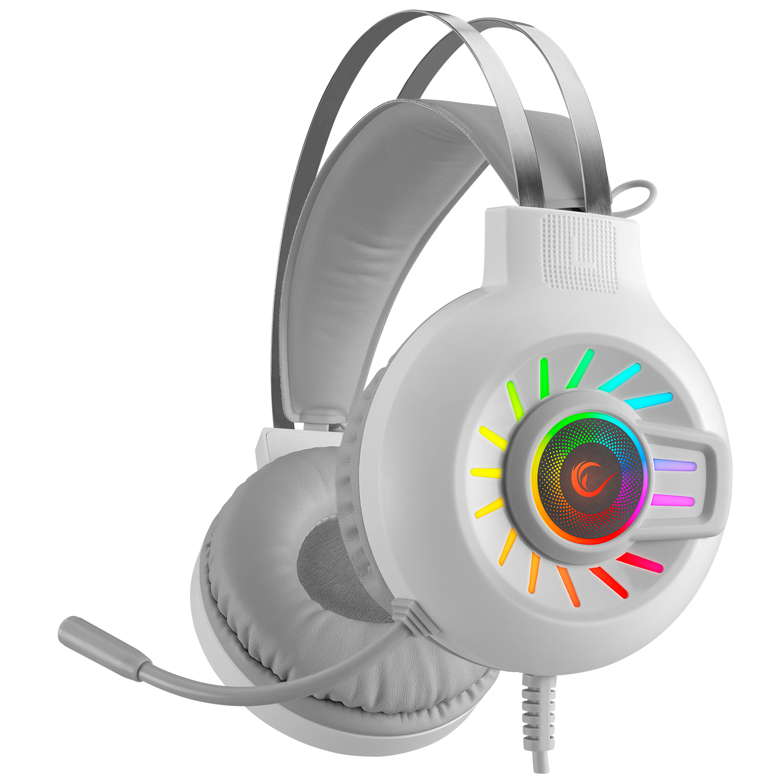 Rampage RM-K44 ZENGIBAR Beyaz 7.1 Surround RGB Işık Efekti Mikrofonlu Oyuncu Kulaklığı