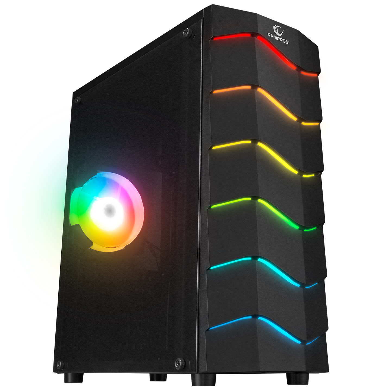 Rampage ARC-X RGB Ledli Siyah Acrylic Panel 120mm Fanlı Gaming Oyuncu Kasası