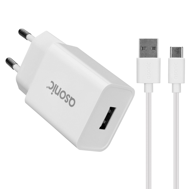 Asonic AS-X220T 2.1A 11W + Type-C USB Siyah Ev Şarj Adaptörü