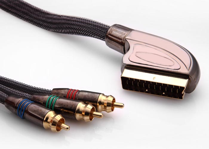 S-link SLX-M997 SCART TO 3RCA 2m Gold+Metal Kablo