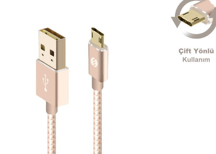 S-link Swapp SW-A1 Micro Usb 1m Gold Data + Şarj Kablosu