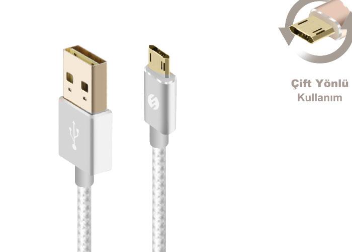 S-link Swapp SW-A1 Micro Usb 1m Silver Data + Şarj Kablosu