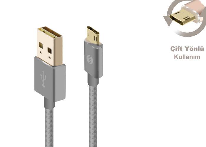 S-link Swapp SW-A1 Micro Usb 1m Gri Data + Şarj Kablosu