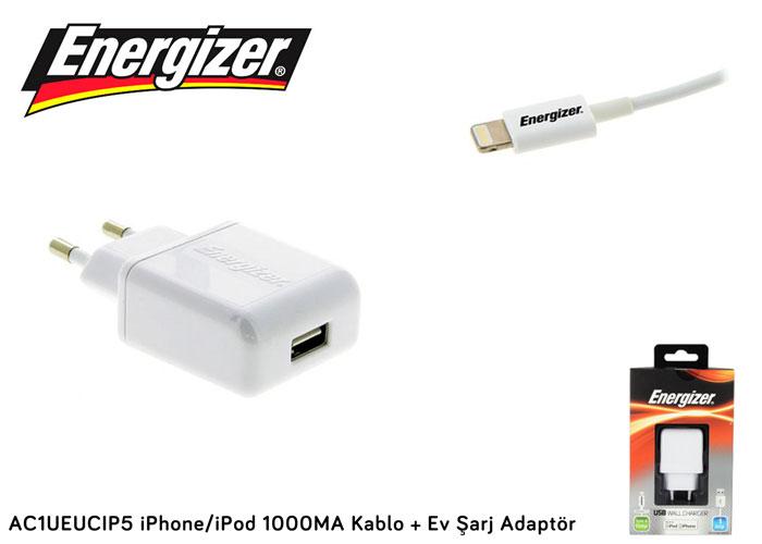 Energizer AC1UEUCIP5 iPhone/iPod 1000MA Kablo + Ev Şarj Adaptör