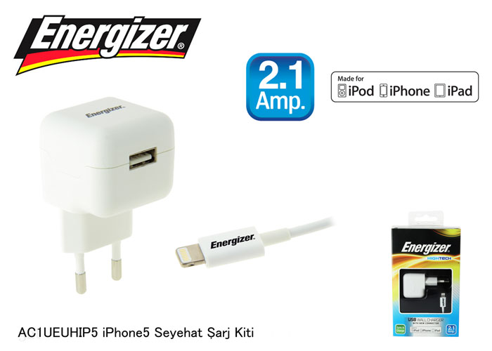 Energizer AC1UEUHIP5 iPhone5 2100MA Seyahat Şarj Kiti
