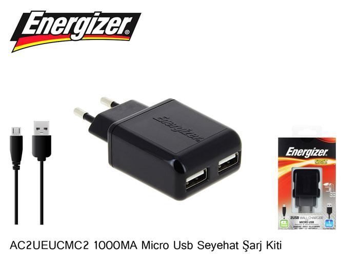 Energizer AC2UEUCMC2 1000MA Micro Usb Seyehat Hızlı Şarj Kiti