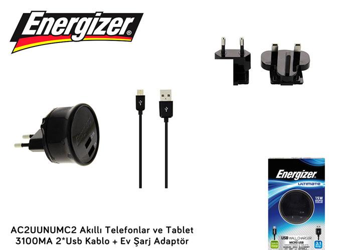Energizer AC2UUNUMC2 Akıllı Telefonlar ve Tablet 3100MA 2*Usb Kablo + Ev Şarj Adaptör