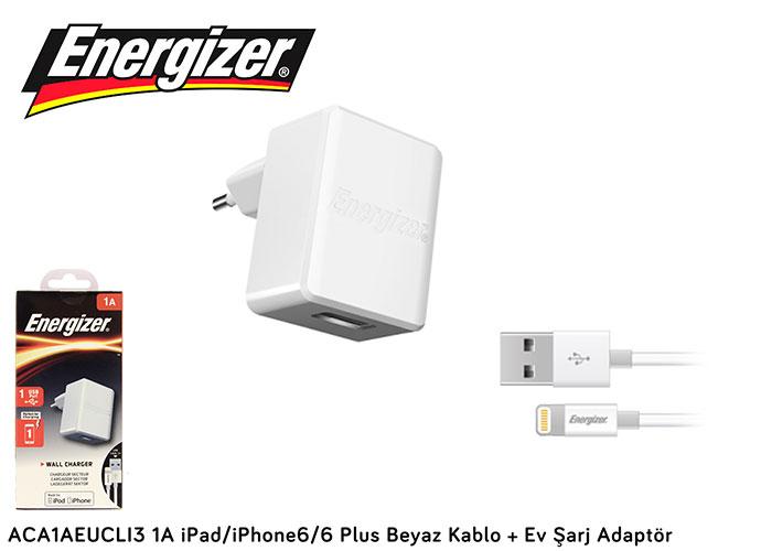 Energizer ACA1AEUCLI3 1A iPad/iPhone6/6 Plus Beyaz Kablo + Ev Şarj Adaptör