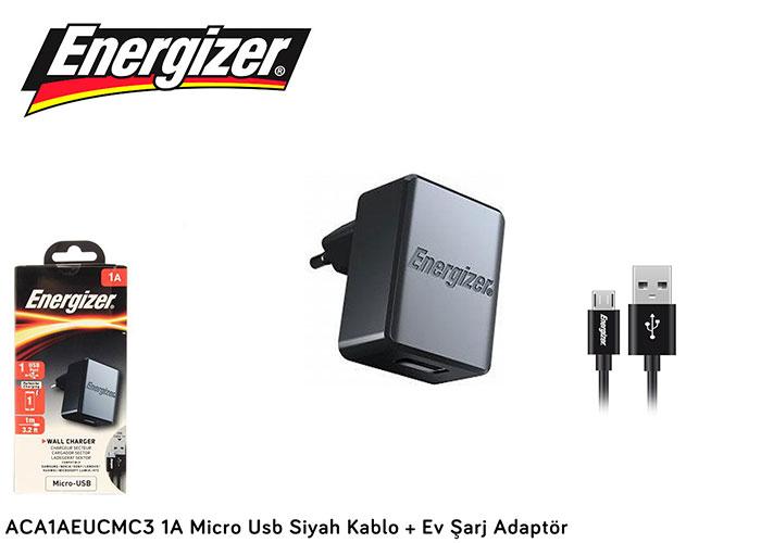 Energizer ACA1AEUCMC3 1A Micro Usb Siyah Kablo + Ev Şarj Adaptör