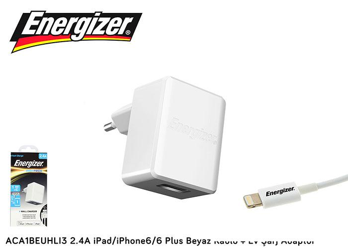 Energizer ACA1BEUHLI3 2.4A iPad/iPhone6/6 Plus Beyaz Kablo + Ev Şarj Adaptör