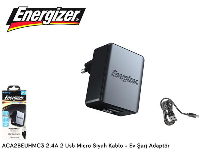 Energizer ACA2BEUHMC3 2.4A 2 Usb Micro Siyah Kablo + Ev Şarj Adaptör