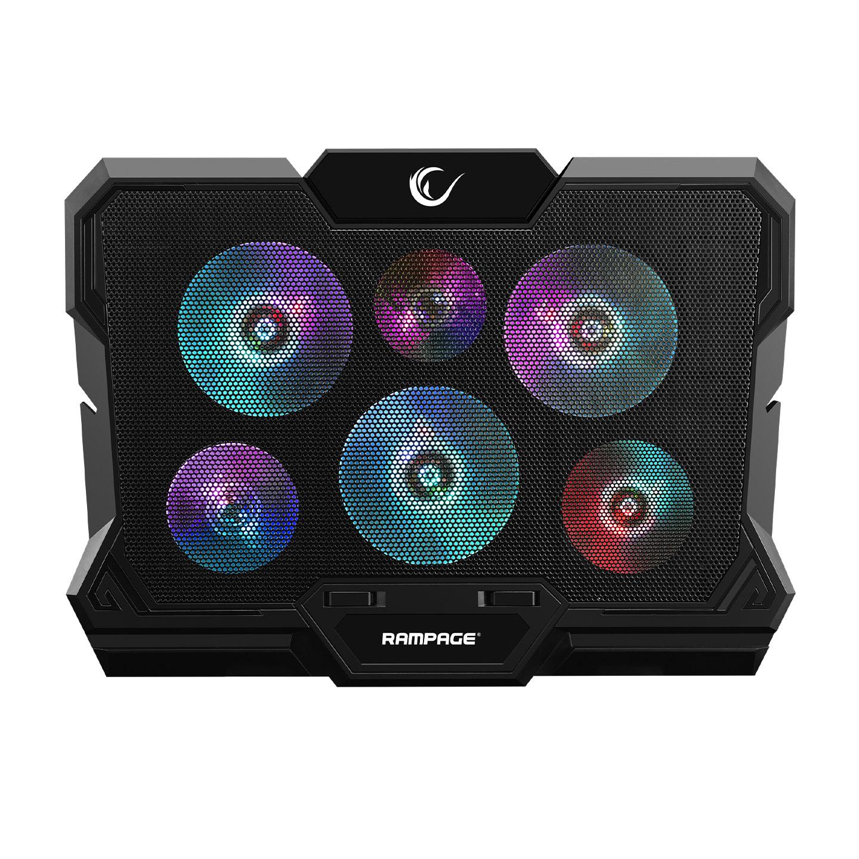 Rampage AD-RC10 X-GUST Siyah 6 Fanlı Rainbow Işıklandırmalı Notebook Soğutucu Stand