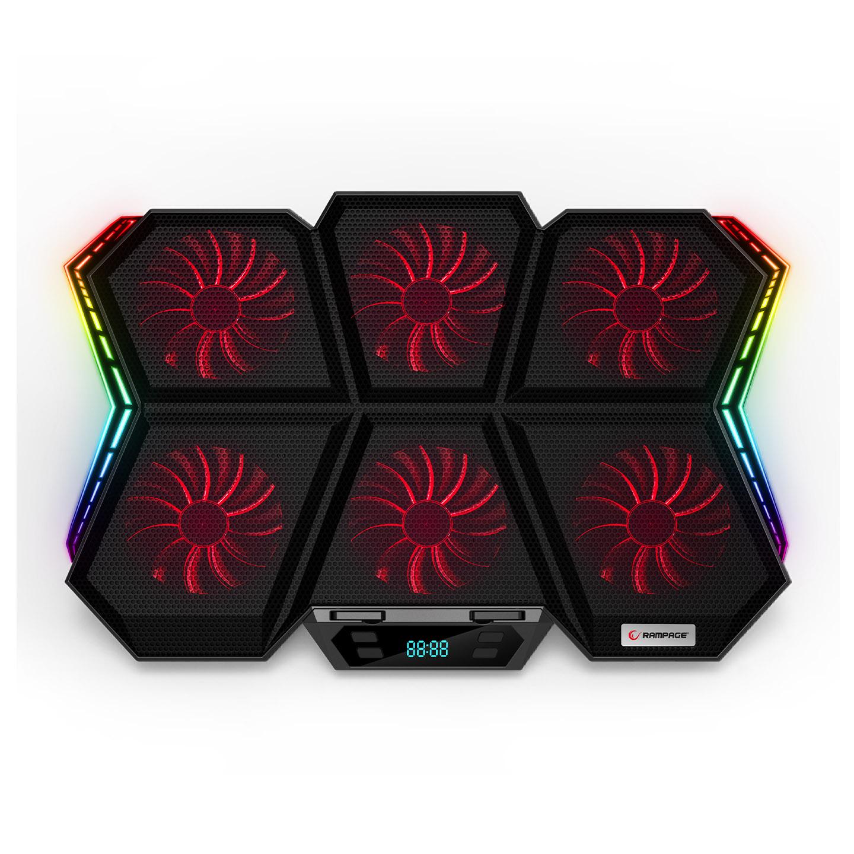 Rampage AD-RX44 X-GALE 6 Fanlı 12 RGB Işık Modlu 7 Kademe Standlı LCD Göstergeli Notebook Soğutucu