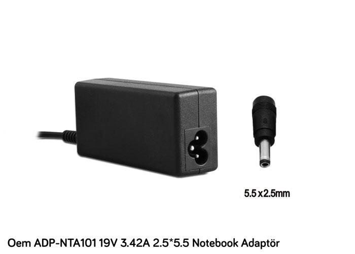 Oem ADP-NTA101 19V 3.42A 2.5*5.5 Asus/Acer Notebook Standart Adaptör