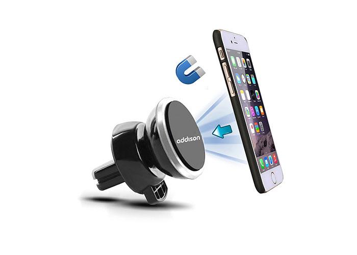 Addison ADS-118 Siyah/Gümüş Mıknatıs 360 Derece Mini Araç Telefon Tutucu