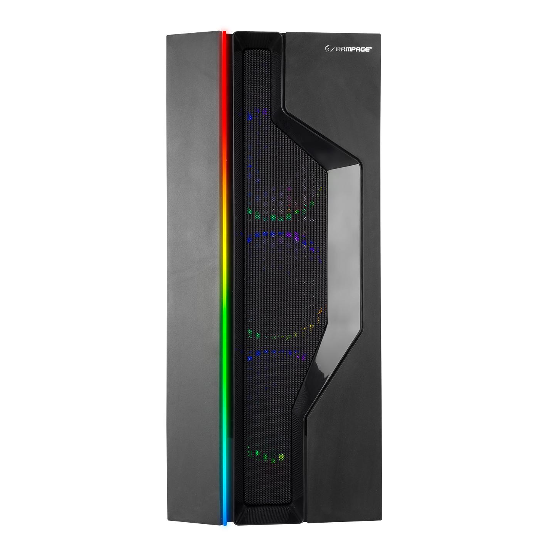 Rampage ALPHA-X 4*12cm Rainbow Fan 600W 80 Plus Bronze RGB Led Şerit 1*Usb 3.0 2*Usb 2.0 Oyuncu Kasası