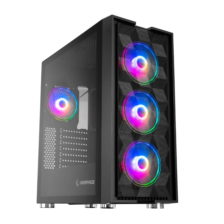 Rampage AMAZE 4*12cm RGB Fanlı 700W 80Plus Bronze Siyah Tempered Glass Oyuncu Kasası