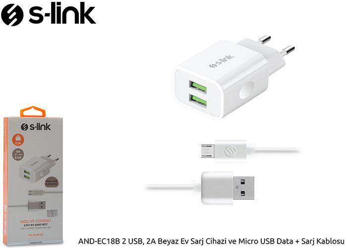 S-link AND-EC18B 2 USB, 2A Beyaz Ev Sarj Cihazi ve Micro USB Data + Sarj Kablosu