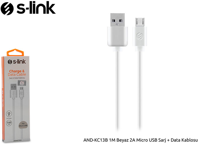 S-link AND-KC13B 1M White 2A Micro USB Charger + Data Cable