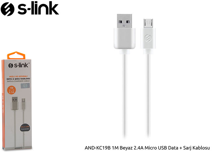 S-link AND-KC19B 1M Beyaz 2.4A Micro USB Data + Sarj Kablosu