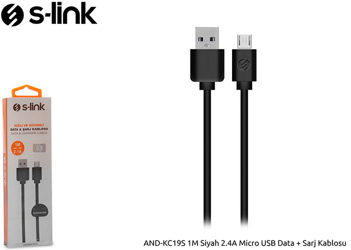 S-link AND-KC19S 1M Siyah 2.4A Micro USB Data + Sarj Kablosu