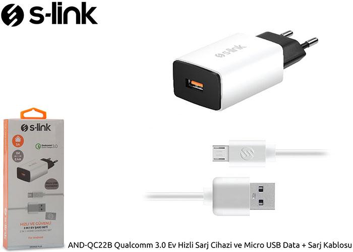 S-link AND-QC22B Qualcomm 3.0 Ev Hizli Sarj Cihazi ve Micro USB Data + Sarj Kablosu