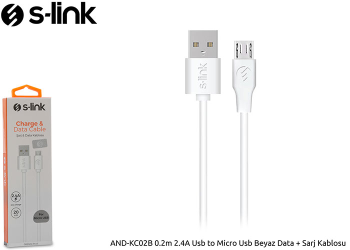 S-link AND-KC02B 0.2m 2.4A Usb to Micro Usb Beyaz Data + Sarj Kablosu