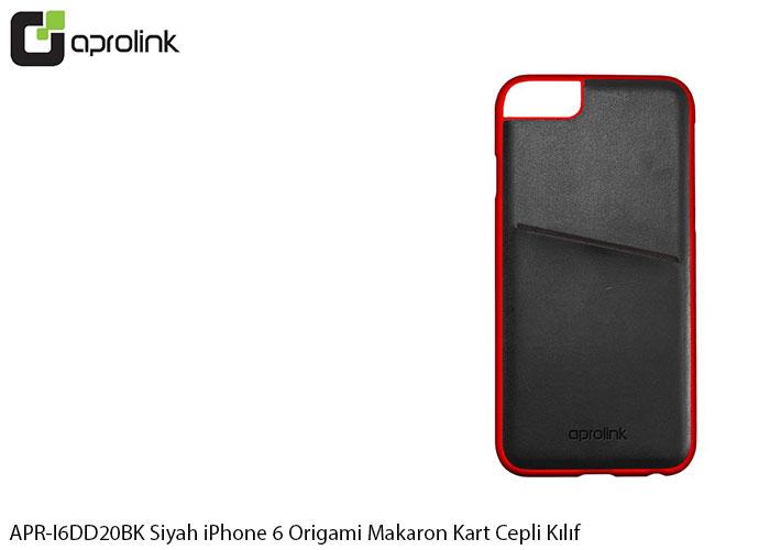 Aprolink APR-I6DD20BK Siyah iPhone 6 Origami Makaron Kart Cepli Kıl