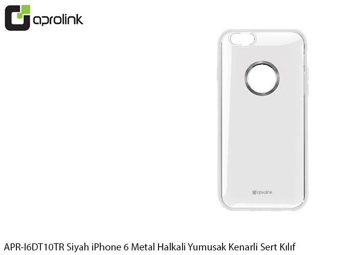 Aprolink APR-I6DT10TR Black iPhone 6 Metal Ring Soft Edge Hard Case