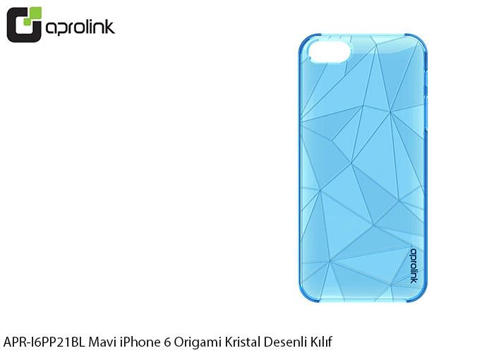 Aprolink APR-I6PP21BL Mavi iPhone 6 Origami Kristal Desenli Kılıf