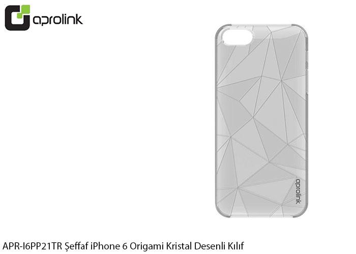 Aprolink APR-I6PP21TR Şeffaf iPhone 6 Origami Kristal Desenli Kılıf