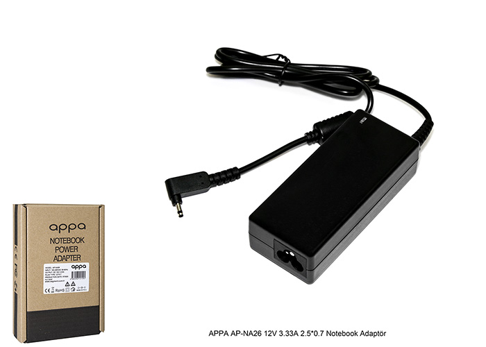 APPA AP-NA26 12V 3.33A 2.5*0.7 Notebook Adaptör