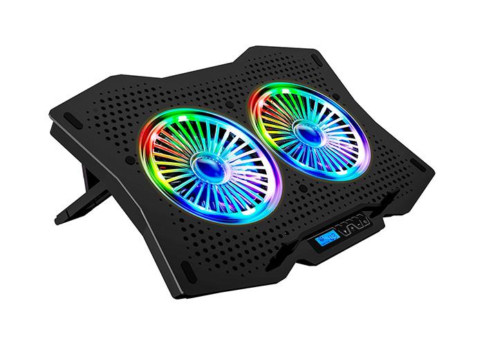 Rampage AD-RC9 TORNADO Siyah 115 -115 -15mm (2 adet)Fanlı 10-18 RGB Işıklı Notebook Soğutucu Stand