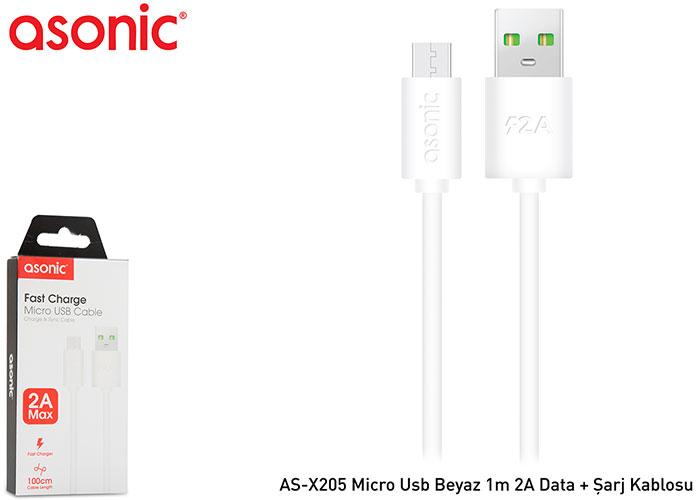 Asonic AS-X205 Micro Usb Beyaz 1m 2A Data + Şarj Kablosu