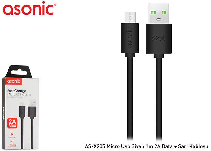 Asonic AS-X205 Micro Usb Siyah 1m 2A Data + Şarj Kablosu