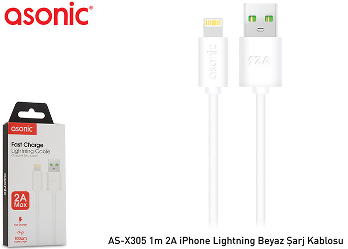 Asonic AS-X305 1m 2A iPhone Lightning White Charging Cable