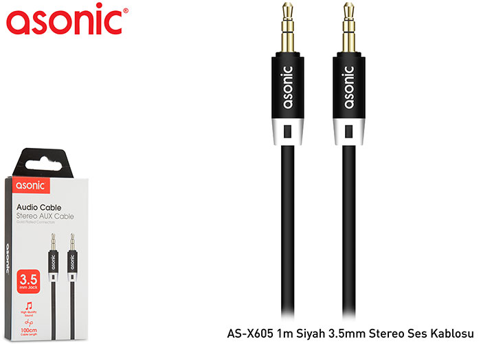 Asonic AS-X605 1m Siyah 3.5mm Stereo Ses Kablosu