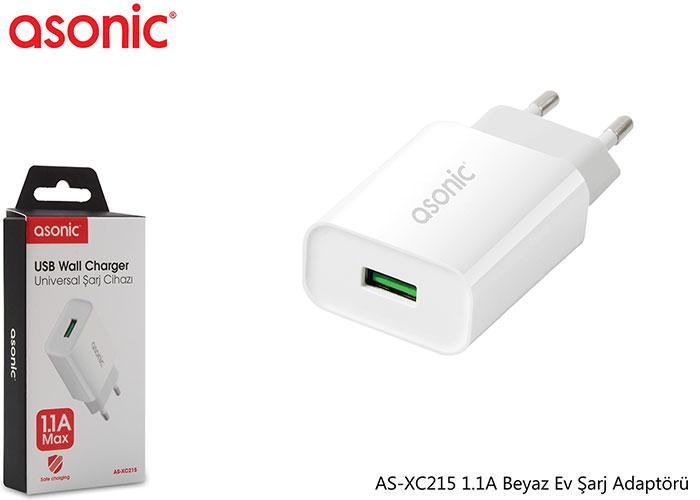 Asonic AS-XC215 1.1A Beyaz Ev Şarj Adaptörü