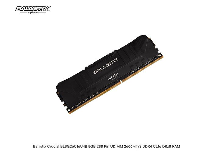 Ballistix Crucial BL8G26C16U4B 8GB 288 Pin UDIMM 2666MT/S DDR4 CL16 DRx8 RAM